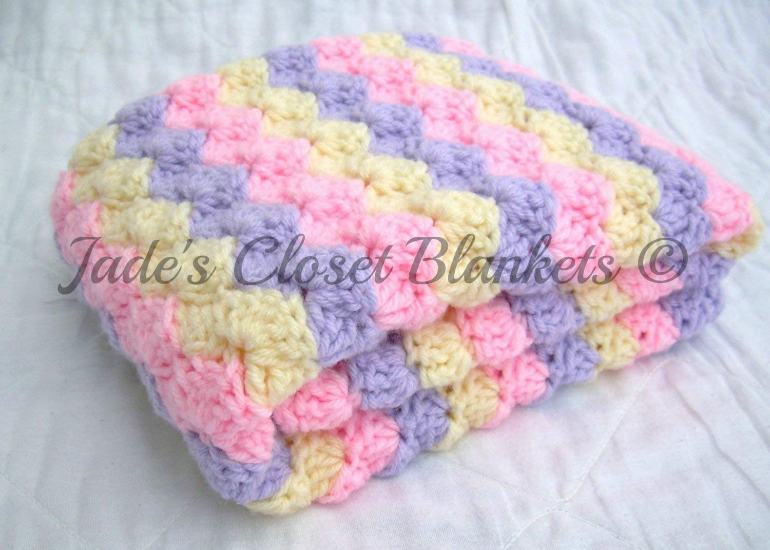 Soft Green and Cream Crocheted Baby Girl Afghan  Blanket in Pink Soft Purple