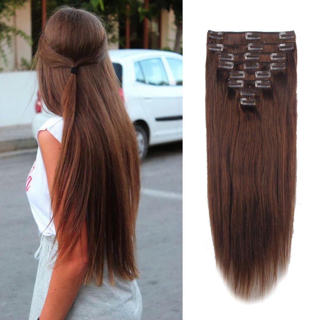 FUT Womens Full Head Huamn Hair Extensions Clip on Thick (8pcs 18clips , 18'' , 140g , Medium Brown #4)