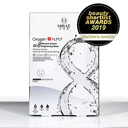 Mirae Beauty 8 Minutes Brightening Facial Sheet Mask   Hypoallergenic Essence For Lightening, Whitening Uneven Skin Tone And Dark Spots For A Dewy Glow To Dehydrated Skin by Mirae 8