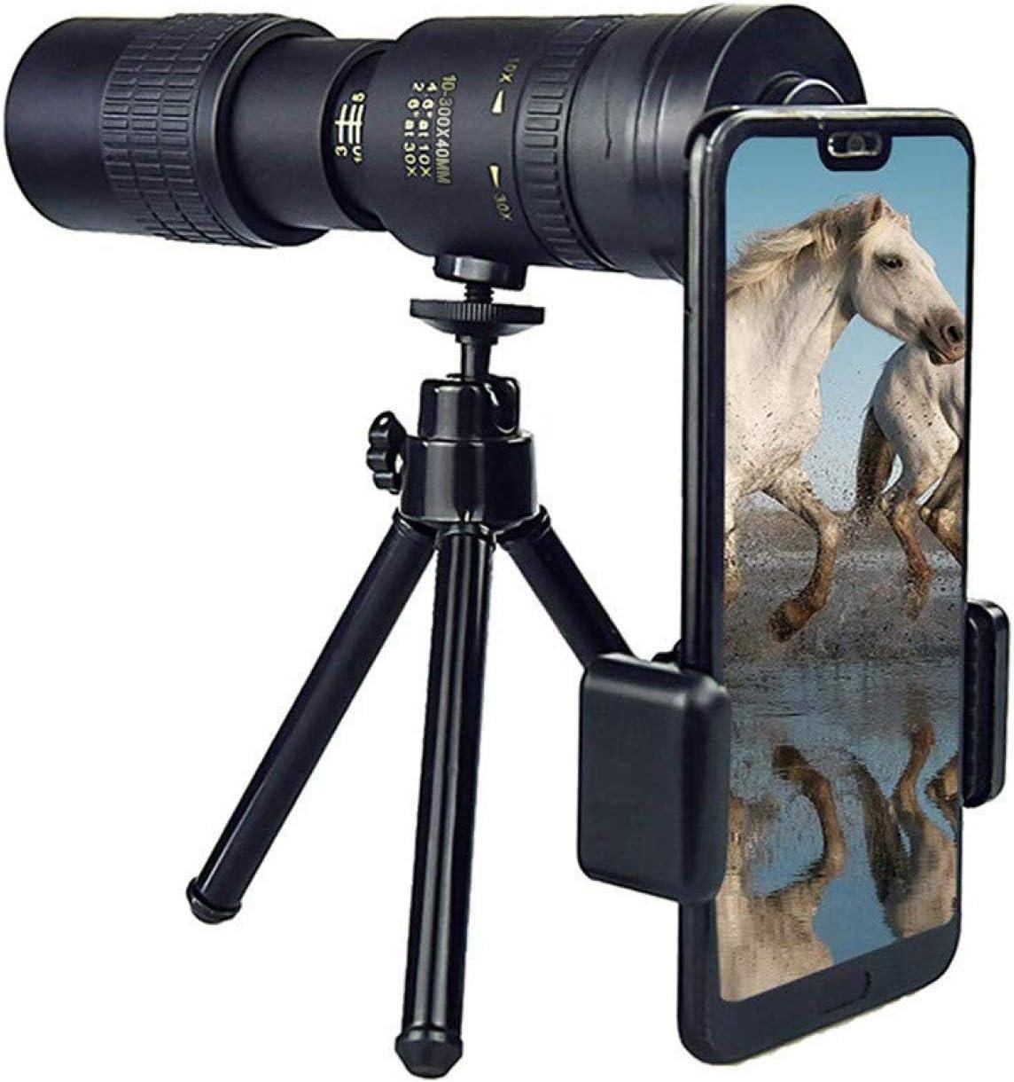 observaci/ón de aves partidos de f/útbol 4K 10-300X40mm Super Teleobjetivo Zoom Telescopio monocular con soporte para tel/éfono inteligente Tr/ípode para viajes Telescopios monoculares conciertos