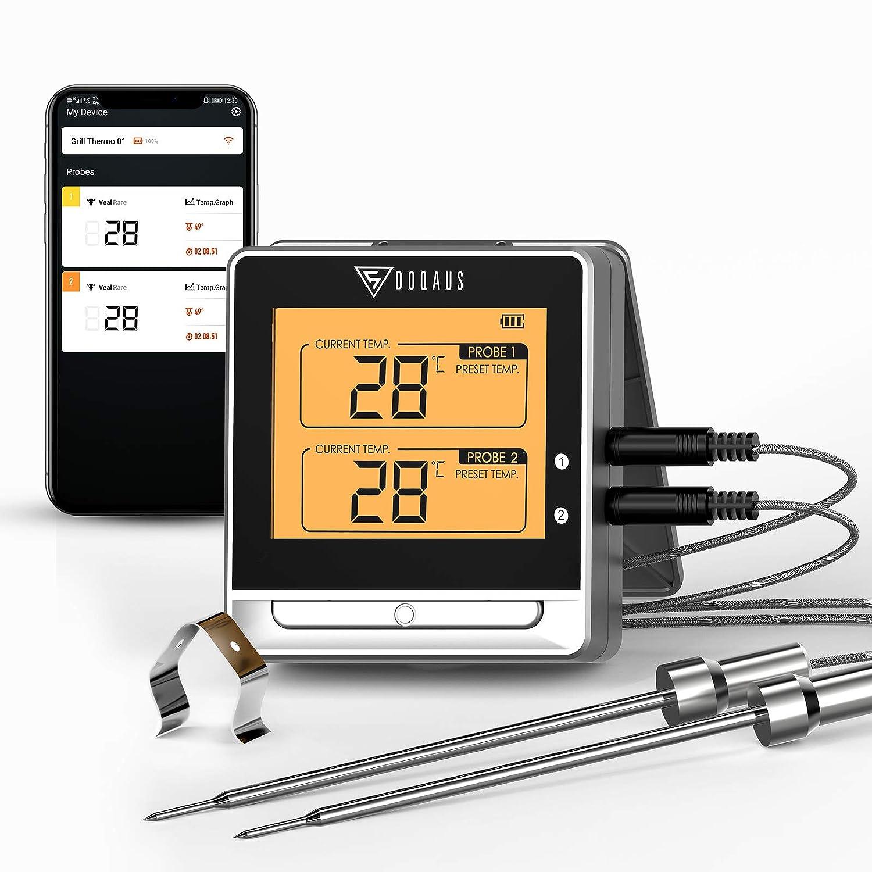 DOQAUS Termómetro Cocina Bluetooth con alcance 50m, Termometro de barbacoa con pantalla grande, diseño de imán, templarm y temporizador de alarma, para BBQ, cocina, grill, horno, carnes (2 sondas)