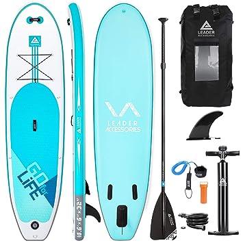 Leader Accessories Tabla Paddle Surf Hinchable Sup con Bomba de Acción Doble, Mochila Moderna, Remo de Aluminio y Aleta, 320x81.28x15.24cm