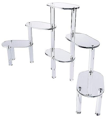 Six Platform Acrylic Display with Oval Shelves | Countertop Display Stand |  Retail Platforms | Dessert Display
