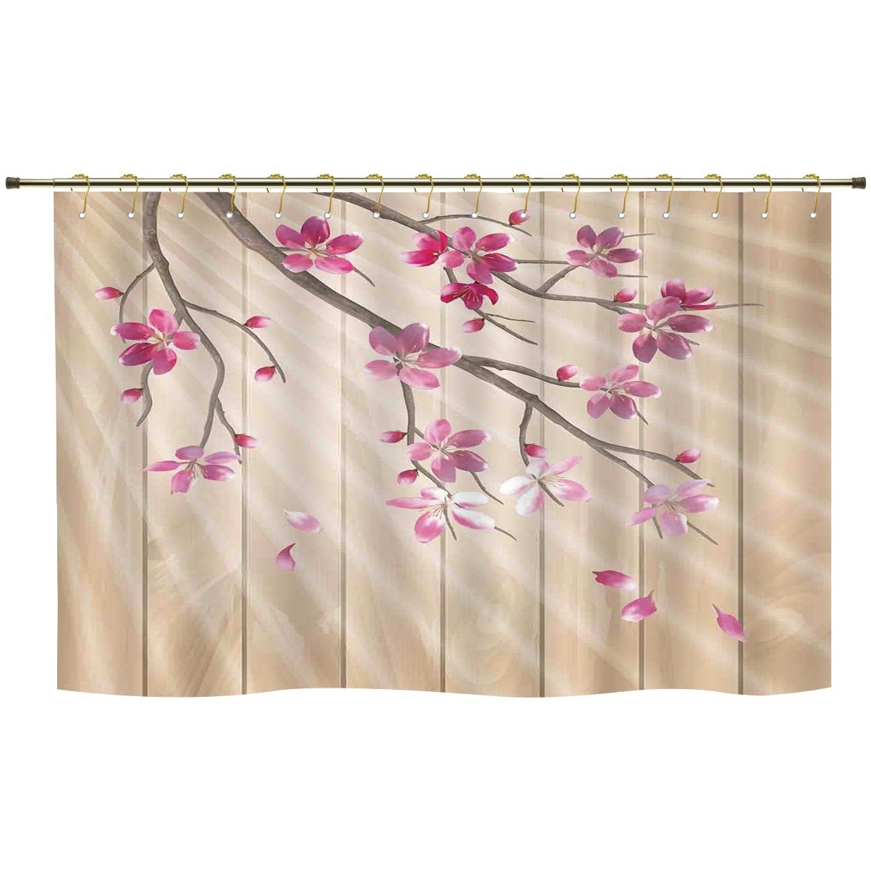 IPrint Shower CurtainHouse DecorSpring Cherry Twig Falling Petals Sun Beams On Wooden Wall Background IllustrationPink CamelPolyester Curtains