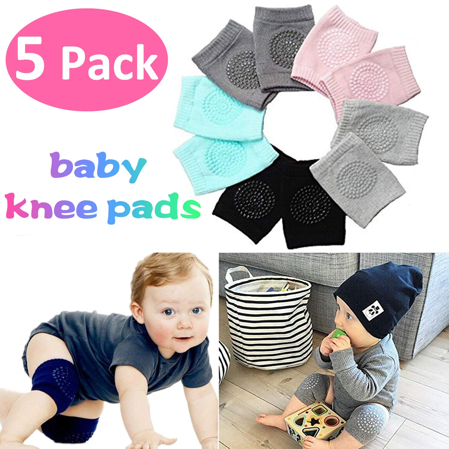 Baby Crawling Anti-Slip Knee for Boys Girl 2 Month - 3 Year Old Baby Unisex Baby Toddlers Kneepads Baby Knee Pads Toddlers Kneepads Adjustable Knee Elbow Pads Crawling 5 Pairs Qiekenao