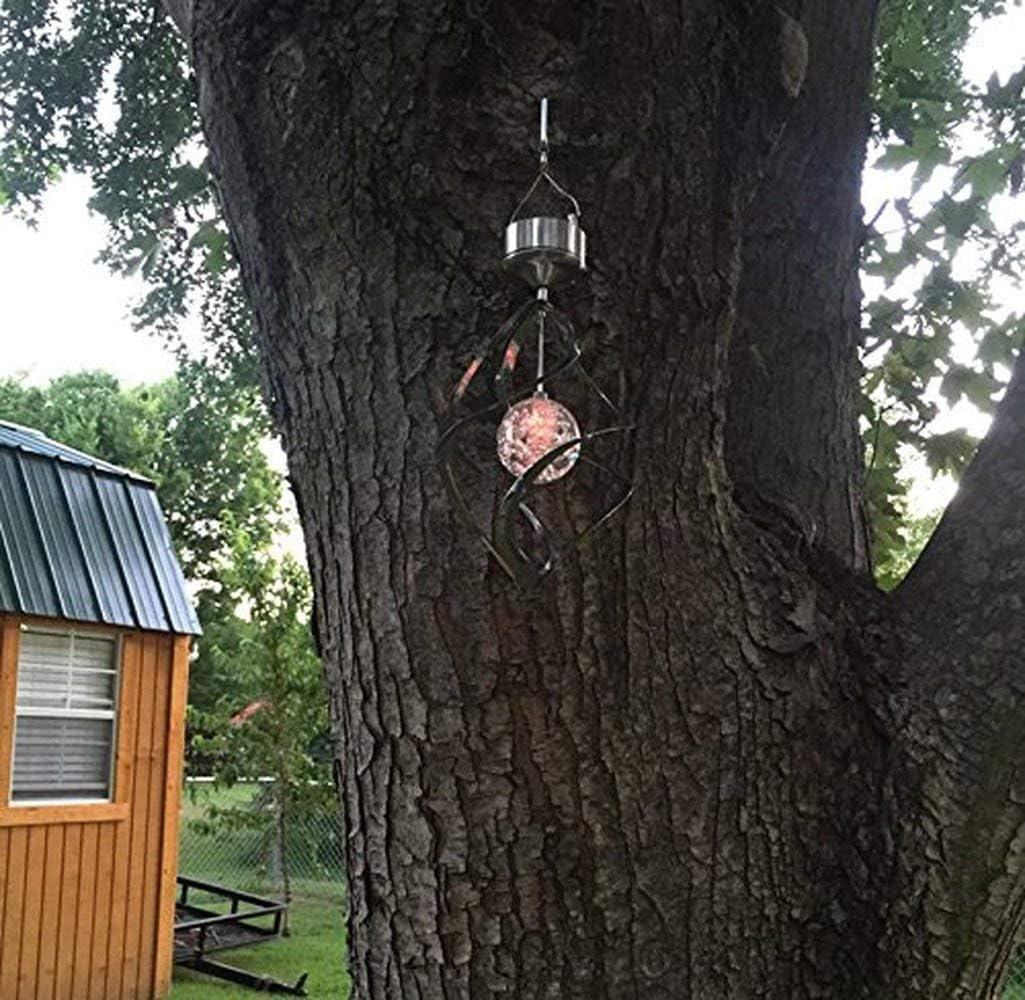 Ruimada Lámpara de Techo con luz Solar Que Cambia de Color, con Bola de Cristal giratoria, lámpara Colgante para jardín, Patio, Fiesta, Festival, decoración al Aire Libre: Amazon.es: Hogar