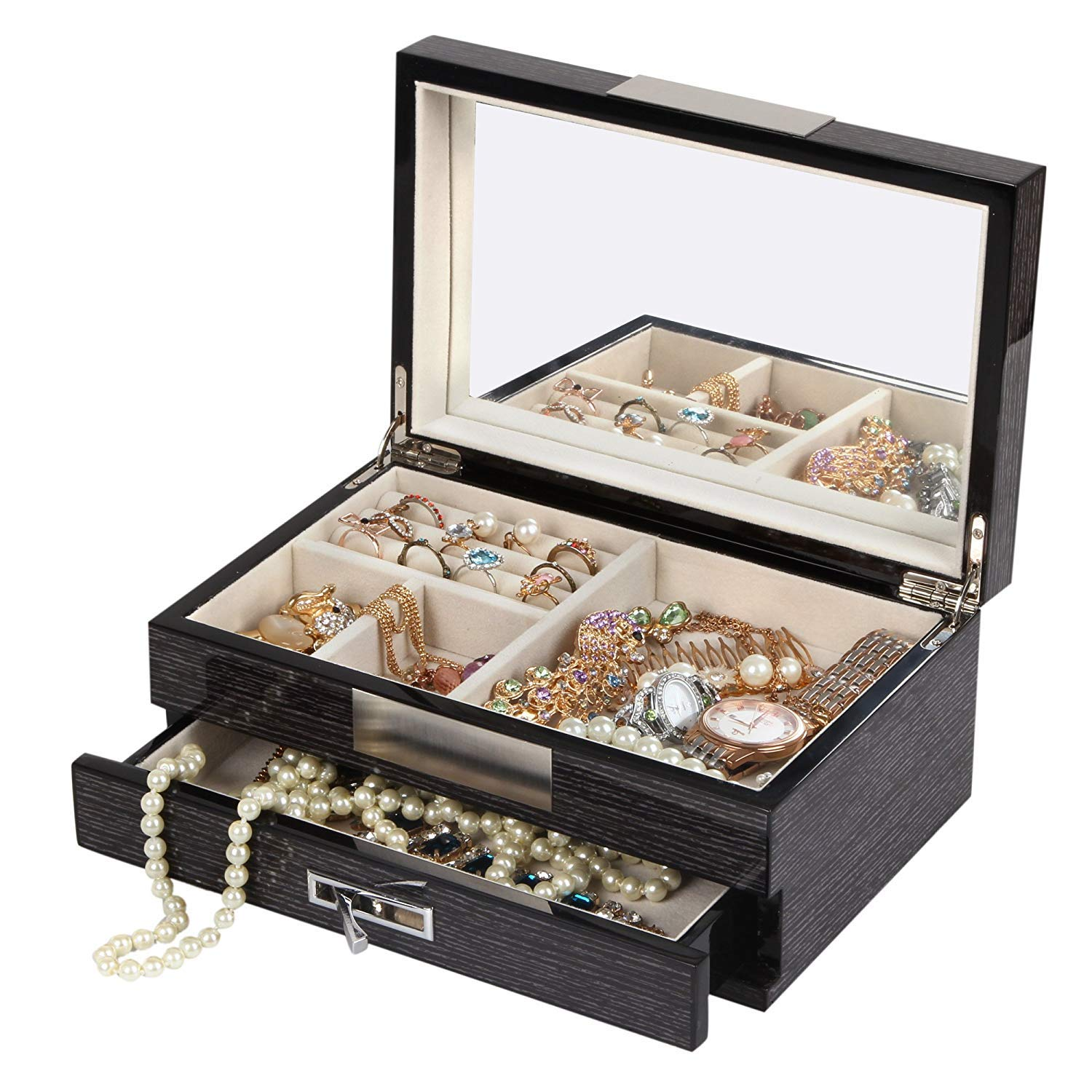 ff365dac7 Amazon.com: Kendal Unisex Wooden Jewelry Box Case Ring Storage Organizer  with Piano Paint (Black): Home & Kitchen