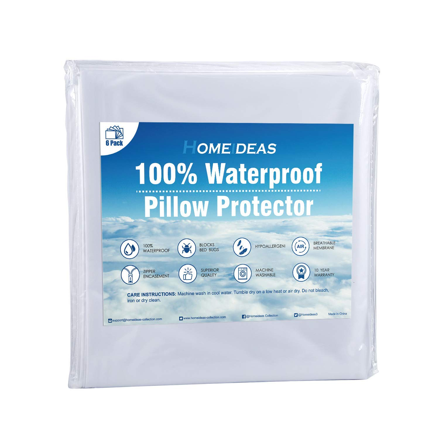 HOMEIDEAS 6-Pack Zippered Pillow Protector - 100% Waterproof - Hypoallergenic & Breathable Pillow Cover - Standard Size