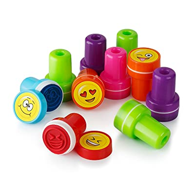 Moore Art 26 Piece Self Inking Emoji Plastic Stampers with Multi Color Bright Smiley Emoji Ink Stamps, DIY Craft for Children, Party Gifts: Toys & Games