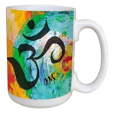 Amazon.com: Sansaara Om sánscrito taza de café – grande 15 ...