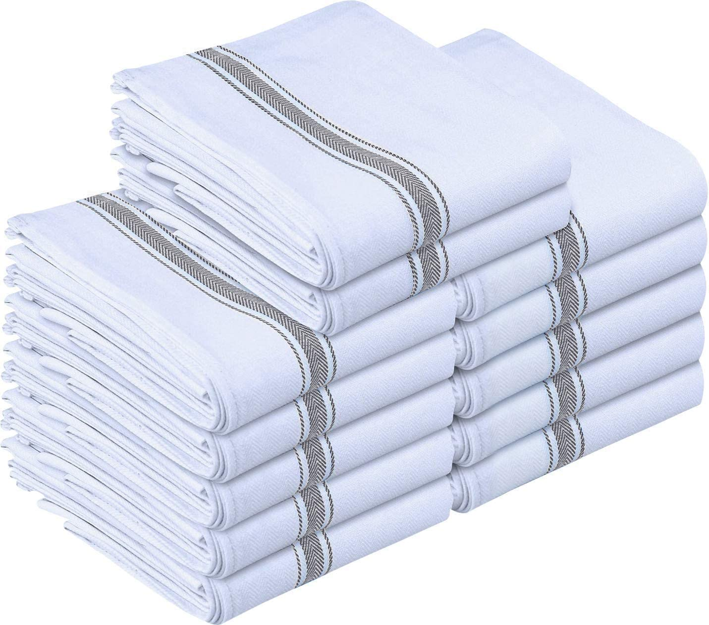 Utopia Towels 12 Pack Dish Towels - Resuable Kitchen Towels -15 x 25 Inches Ultra Soft Cotton Dish Cloths - Super Absorbent Cleaning Cloths, Grey
