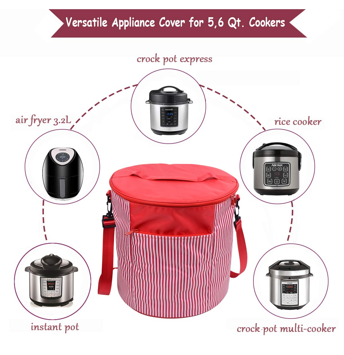 Wersea Appliance Cover Bag For 6 Quart Instant Pot Decorative