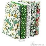 "RayLineDo 5X Different Pattern Green 100% Cotton Poplin Fabric Fat Quarter Bundle 46 x 56cm ( Appox 18"" x 22"") Patchwork Quilting Fabric"