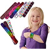 Slap Bracelets - Mega Bulk Pack of 50 Assorted Print Heart and Animal Slap Bands - Enjoy These Fun Pattern Hand-bands at School, Birthday Parties, Classroom Awards... and So Much More!!!