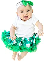 St Patrick Day Baby Dress White Bodysuit Green Clovers Tutu Romper Set Nb-18m
