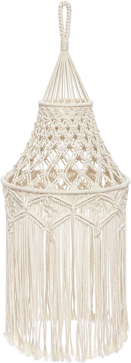 Mkono Macrame Lamp Shade Boho Hanging Ceiling Pendant Light Cover Modern Bohemian Office Bedroom Living Room Home Decor