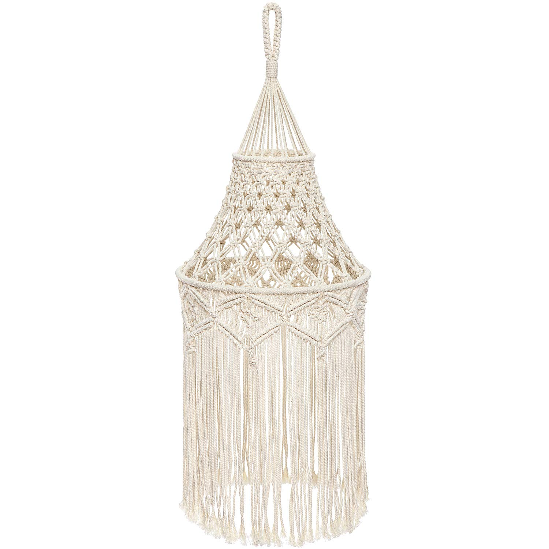 Mkono Macrame Lamp Shade Boho Hanging Ceiling Pendant Light Cover Modern Bohemian Home Decor or Party Decor