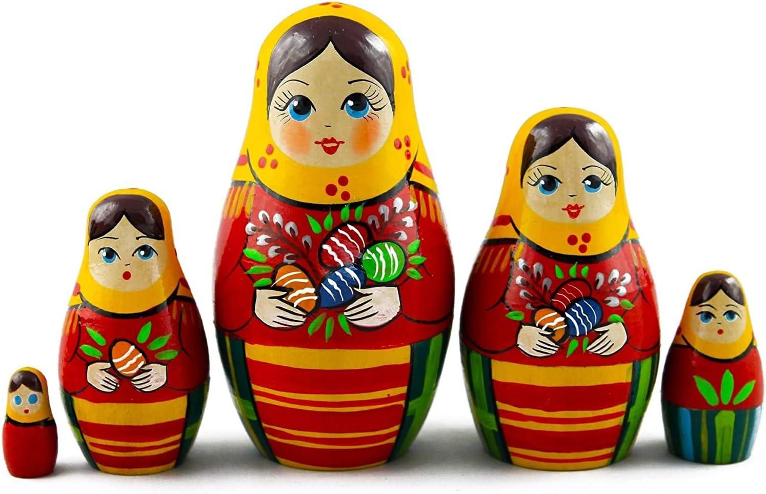 5pcs Handmade Painted Set Toys Creative Nesting Dolls Russian Wishing Doll
