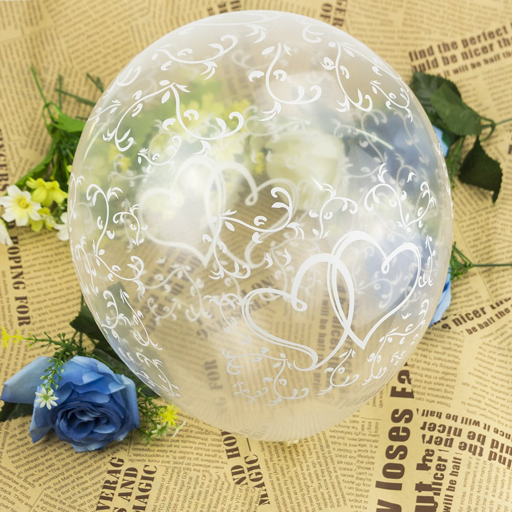 20 Clear Entwined Hearts Helium Air Balloons Wedding Engagement Party Decoration AHG
