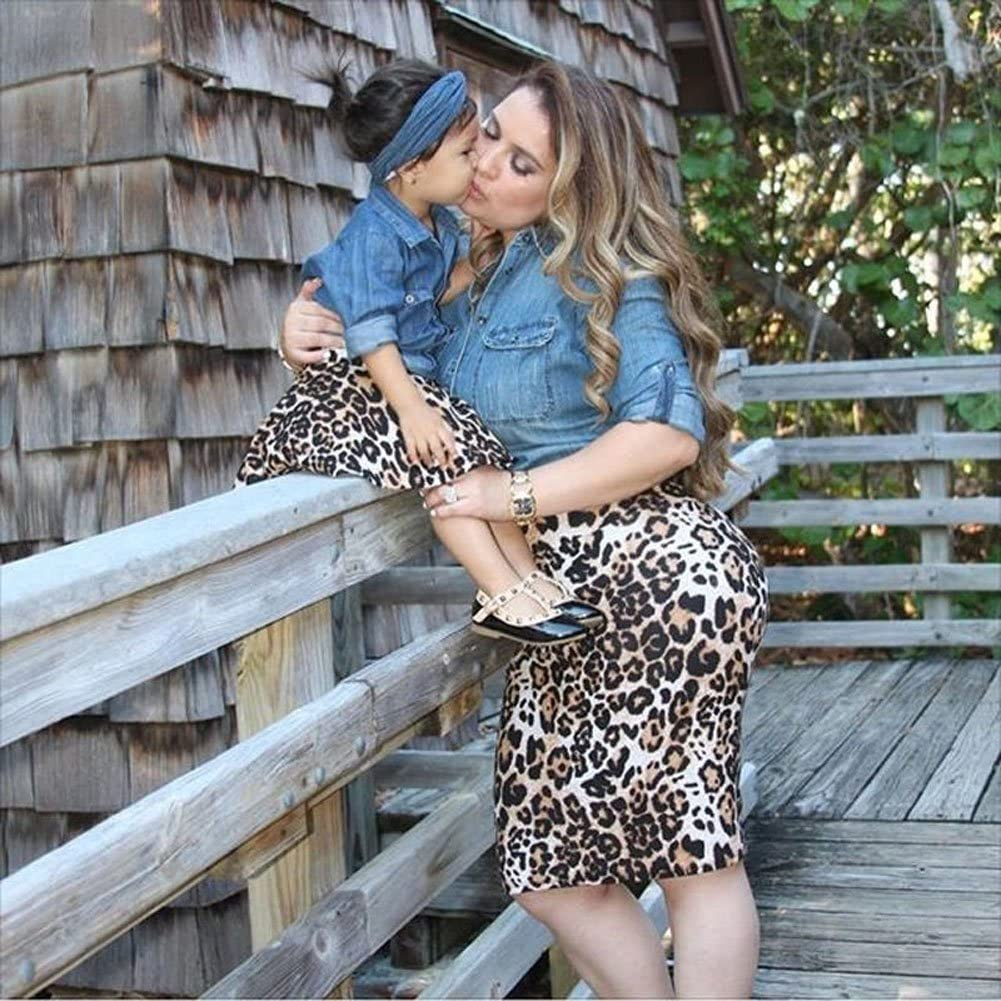 Carolilly Madre e Figlia Abiti Casual Vestito per Famiglia Madre e Figlia Abiti Estivi 2 Pezzi Camicia Jeans Maniche Lunghe Gonna Leopardata