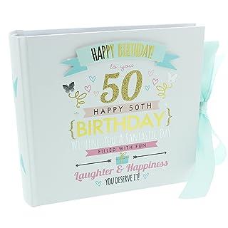 Álbum de fotos, diseño con texto en inglés de cumpleaños número 50, para 80 fotos de 15,2 x 10,1 cm ukgiftstoreonline