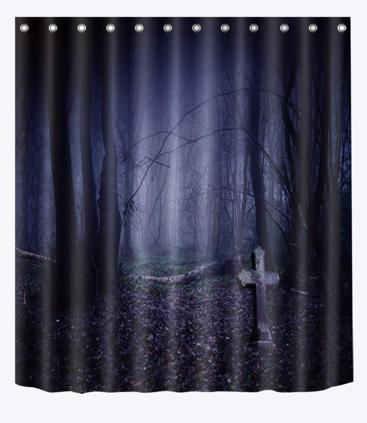 LB Spooky Graveyard In Dark Forest Shower Curtain Set For Bathroom Scary Halloween Decor 70x70 Inch Polyester Fabric Waterproof Mold