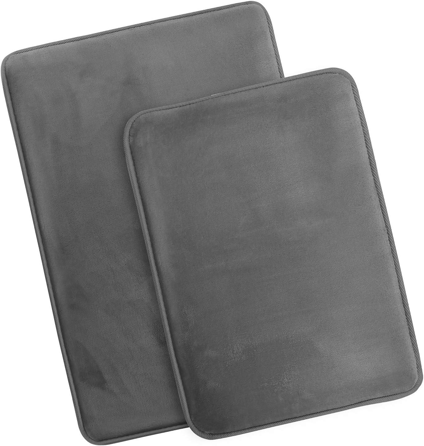 Clara Clark Memory Foam Bath Mat Ultra Soft Non Slip and Absorbent Bathroom Rug, Set of 2 - Small/Large - Grey
