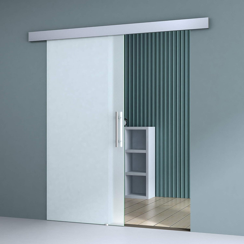 Sogood Puerta corrediza 102,5x205cm diseño Amalfi TS14 vidrio de seguridad ESG totalmente satinado, manija de la puerta de acero inoxidable: Amazon.es: Bricolaje y herramientas