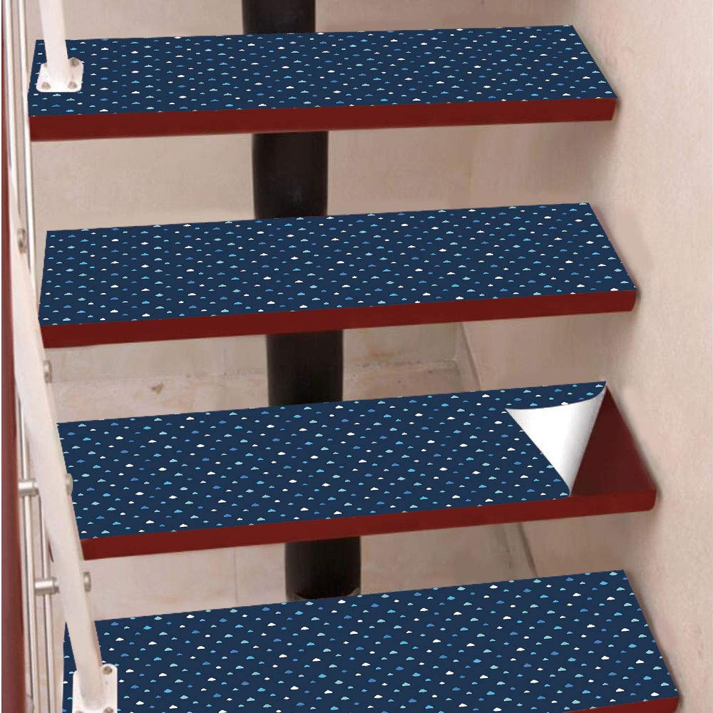 3D Print Non-Slip PVC Stair Pads,Self-Adhesive Steps Sticker,Staircase Treads Protector,Cartoon Like Water Rain Drops on Dark Blue Backdrop,for Home Decoration(9.8X39 inch) Set of 5PCS,White Navy Blue