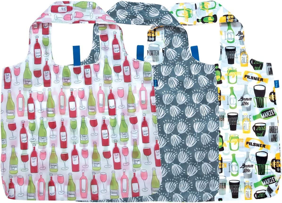 rockflowerpaper Wine and Beer Printed Blu Bag Pack of 3 Reusable Grocery Shopping Bag Eco-Friendly Convenient Machine Washable Everyday Totes