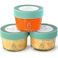 Sage Spoonfuls Jars, Almacenamiento pequeño de vidrio, Verde, 4 oz (3 unidades)