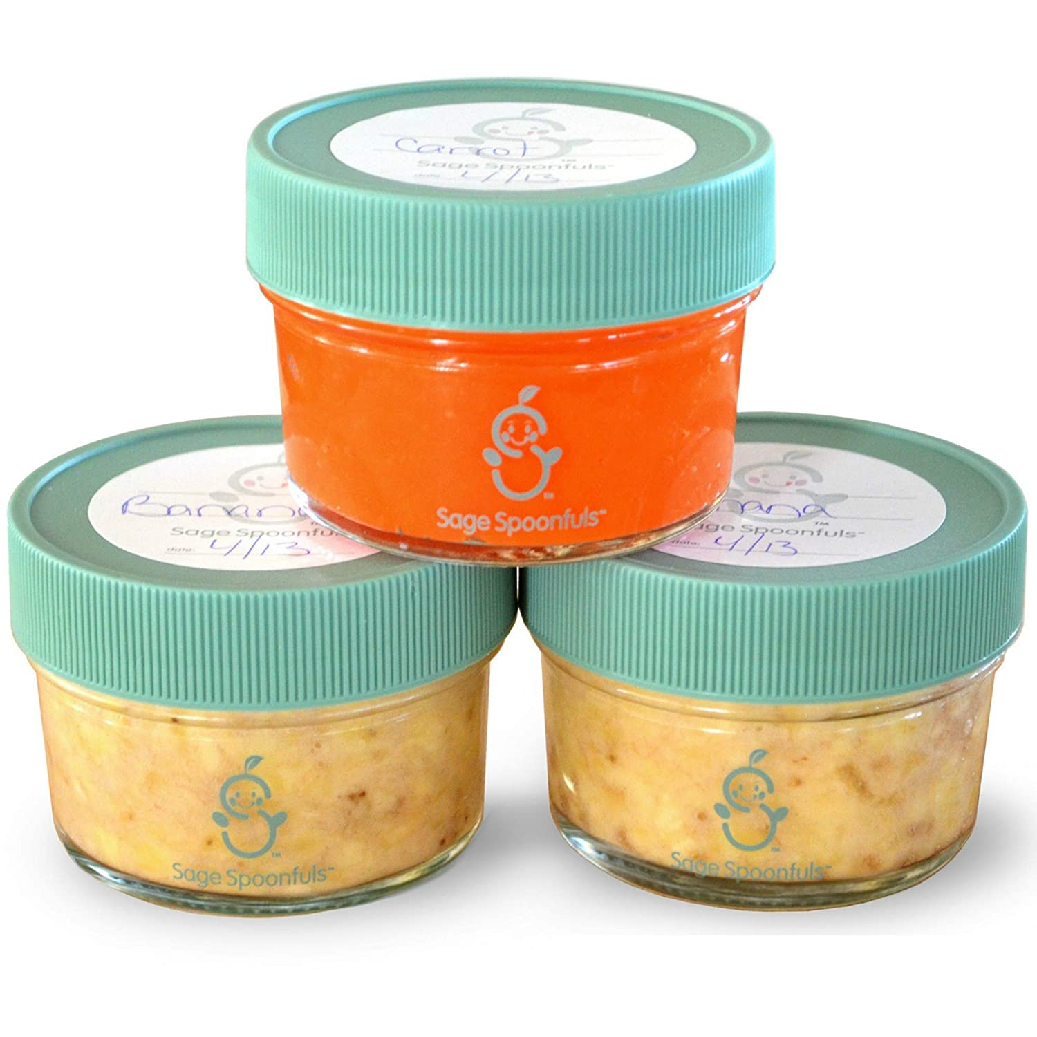 Glass Baby Food Storage Containers | Set of 6 | 4oz Glass Baby Food Jars and Lids | 30 Labels | Freezer Storage | Reusable Glass Baby Food Jars | Microwave & Dishwasher Safe | for Babies & Infants