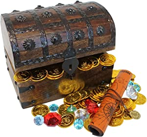 Nautical Cove Wooden Pirates Treasure Chest Box with a Free Pirate Treasure Map and Gold Coins/Gems