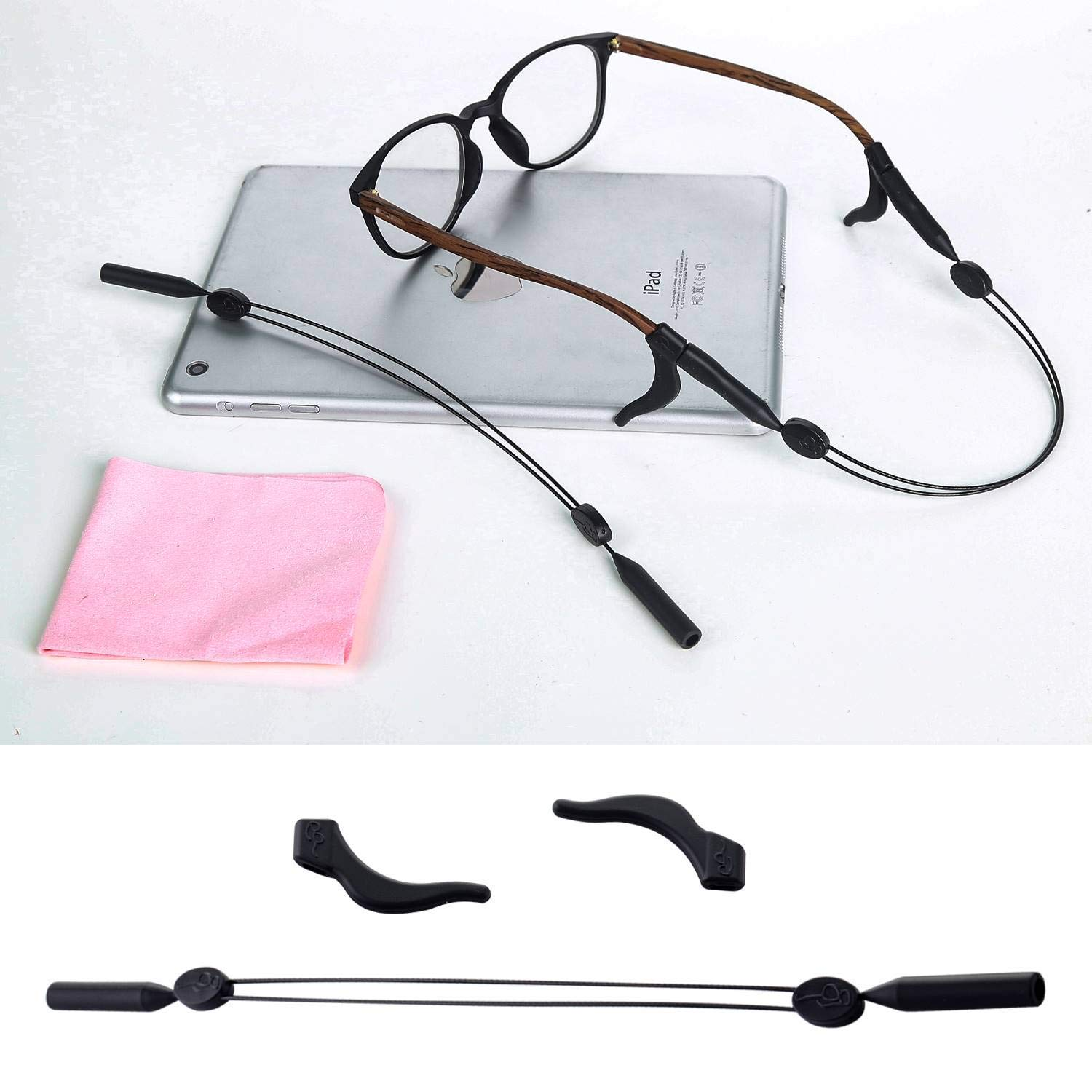 Eyeglass Holder, Sunglass Straps 2 Pack with 4 Anti-Slip Hooks and 3 Glasses Cloth, Glasses Strap Retainer for Men and Women Hold Down Straps String
