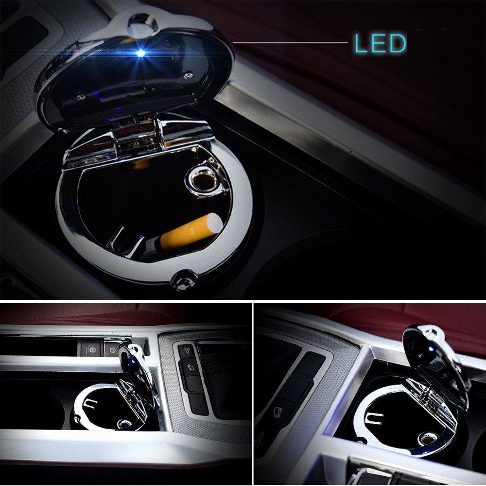 Auto Aschenbecher Portable Edelstahl Auto Zigaretten Aschenbecher Rauchfreier Stand-Zylinder für Becherhalter Zigaretten-Aschenbecher mit LED-Licht (Schwarz)