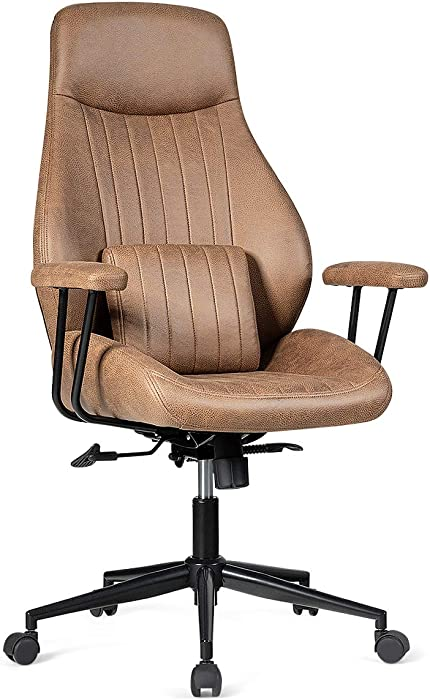 Giantex Ergonomic Office Chair, Suede Fabric Executive Chair w/Lumbar Cushion, High Back Computer Desk Chair with Padded Armrest for Executive Home Office (Brown)