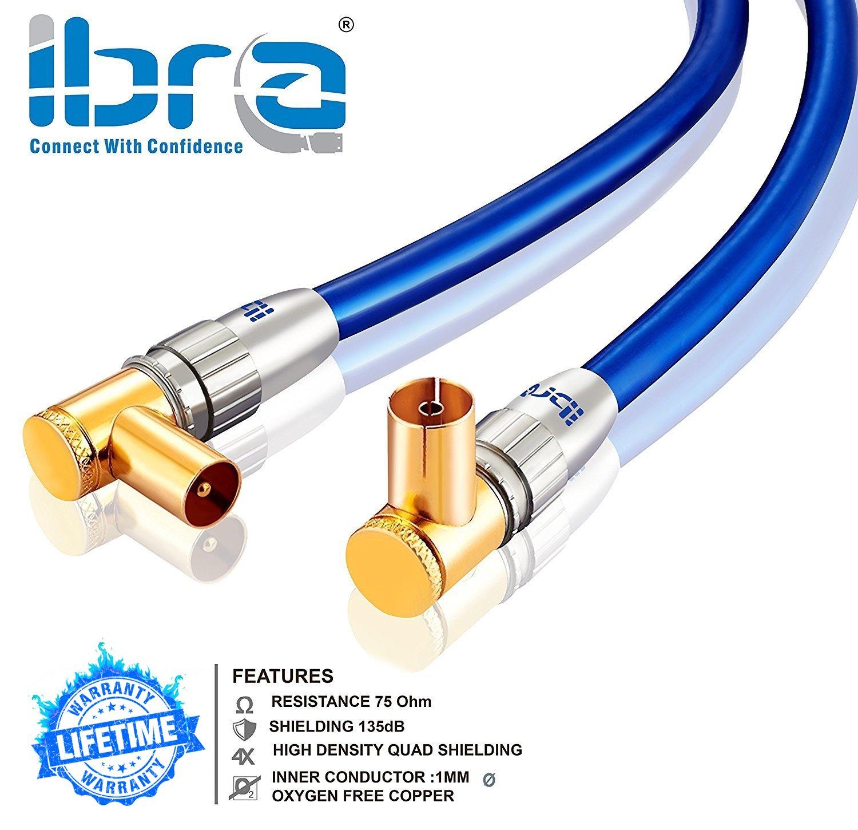1m cable de antena HDTV Premium | En ángulo 90° | resistencia: 75 ohmios | cable coaxial HDTV / Full HD clavija coaxial macho en acoplamiento coax carcasa ...