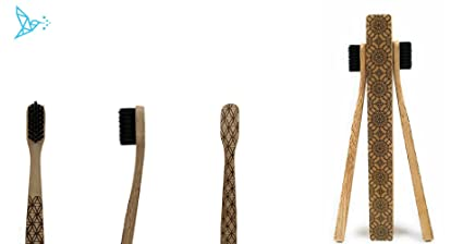 2 cepillos de dientes de bambú TOMARCO con cerdas de carbón de tamaño mediano biodegradables sin