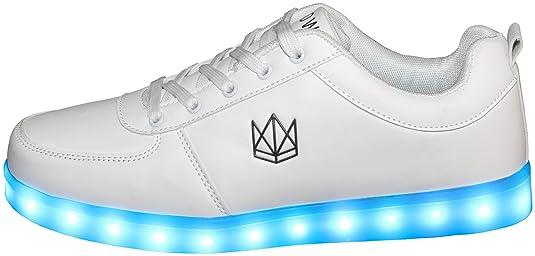 sports shoes 8cecc 1a0c6 CROWN Shoes Classic LED Schuhe für Damen, Herren, Kinder, Unisex Sneaker  (Top Deutscher Händler, 7 Farben mit USB-Ladekabel)