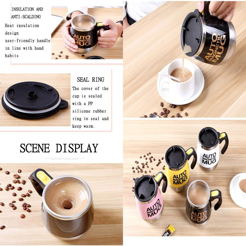 TFTREEStainless steel creative magnetized mixing cup, office multi-function automatic mixing milk coffee cup - Anti-scalding with lid cup - Magnetic-convenient button switch - mug-yellow by TFTREE (Image #5)