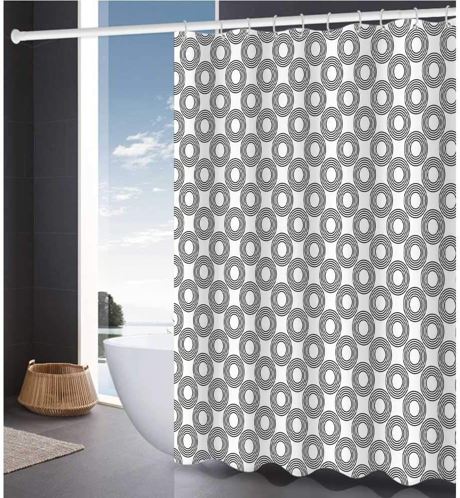 Geometric Circle Shower Curtains 72 W X 72 L Vinyl Records Inspired Concentric Rings With Curve Grids Artwork Print Modern Home Bathroom Decor Black Gray Home Kitchen