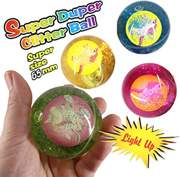 LED Flummi Unicornio Agua purpurina niña 8 unidades pelota de goma ...