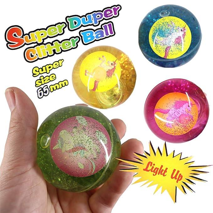 LED Flummi Unicornio Agua purpurina niña Juego de 4 pelotas de ...