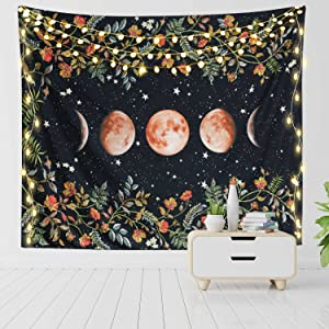 RosieLily Moon Tapestry Moon Phase Tapestry Moonlit Garden Tapestry Wall Hanging, 51