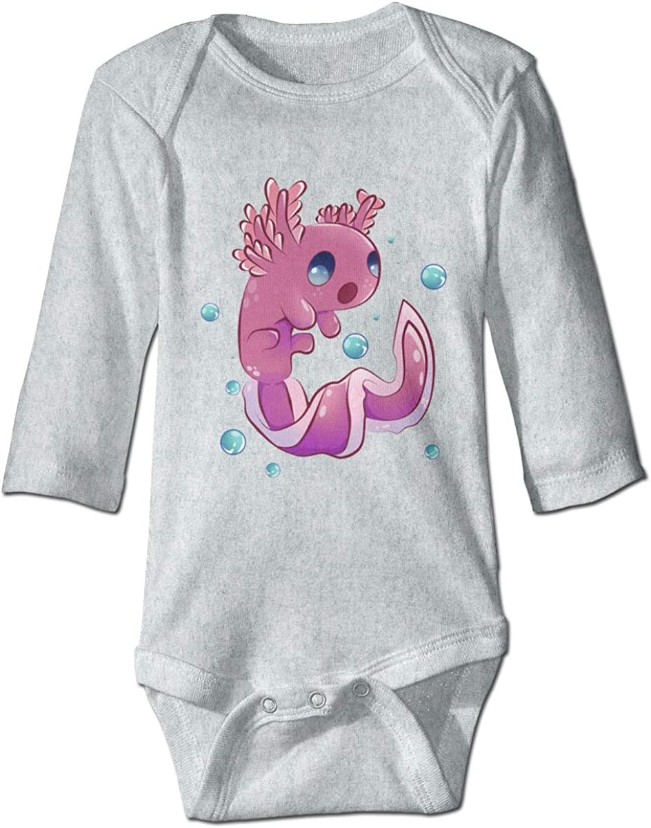 Marsherun Baby Toddler Pink Axolotl Long Sleeve Climbing Bodysuits Playsuit