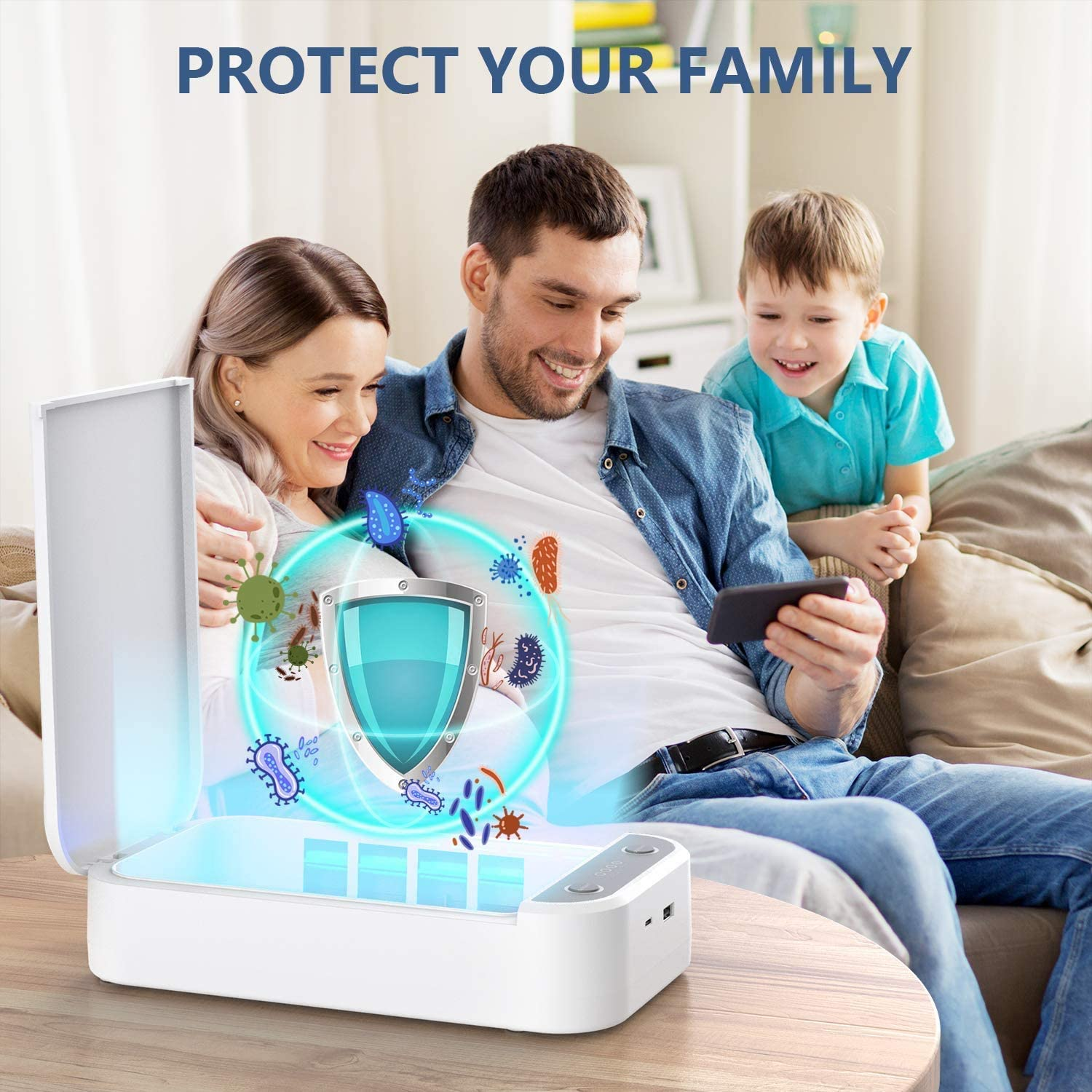 UV Cell Phone Sanitizer for iPhone Sterilizer Phone Cleaner for iOS Android Mobile Phone Toothbrush Pacifier Aromatherapy Function Disinfector