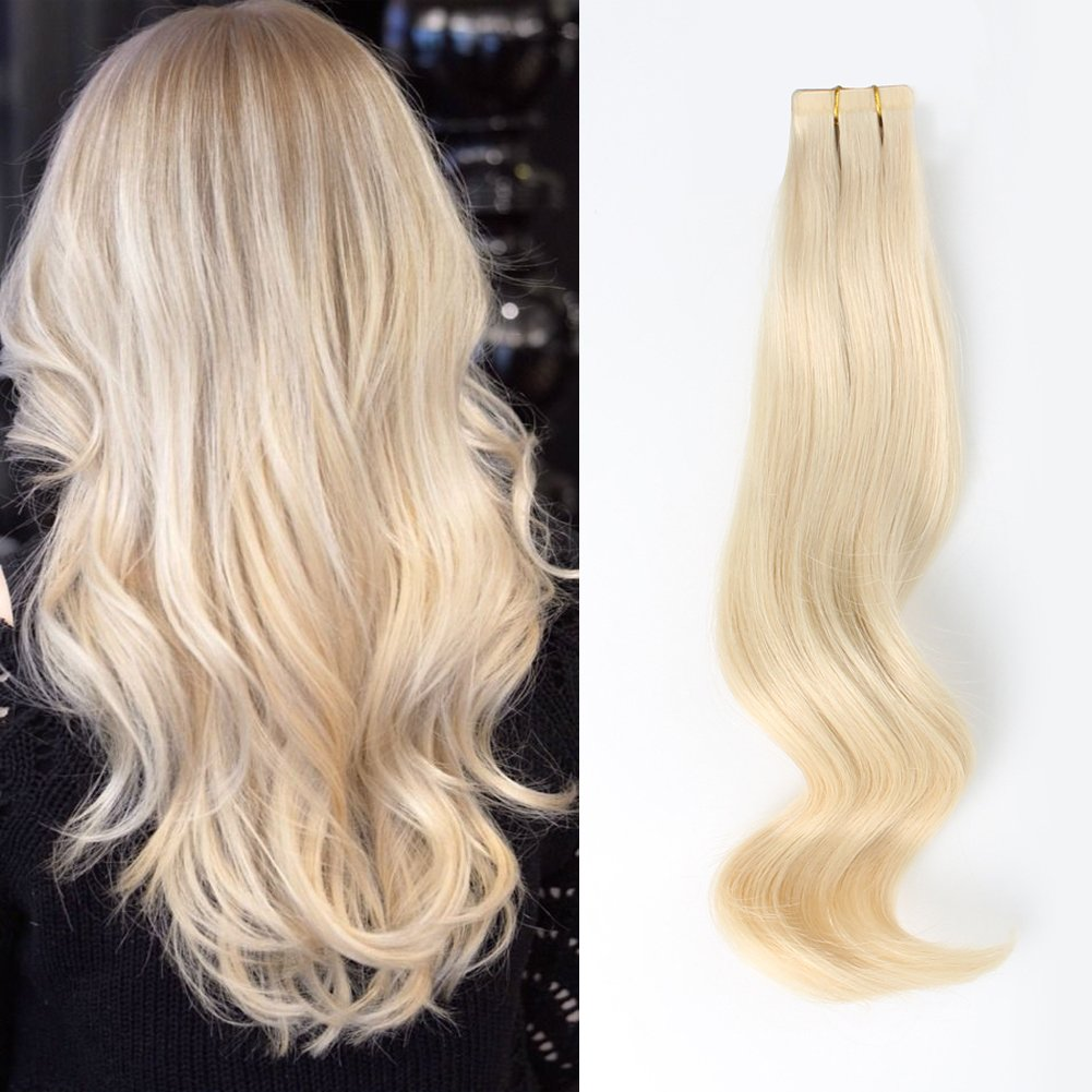 ABH AmazingBeauty Hair Real Remi Remy 100 Human Hair Tape in Extensions Remi Remy 50g 20pcs Glue in Skin Weft Tape Attached Invisible Seamless Reusable Platinum Ash Blonde Color 60 20 Inch by ABH AMAZINGBEAUTY HAIR