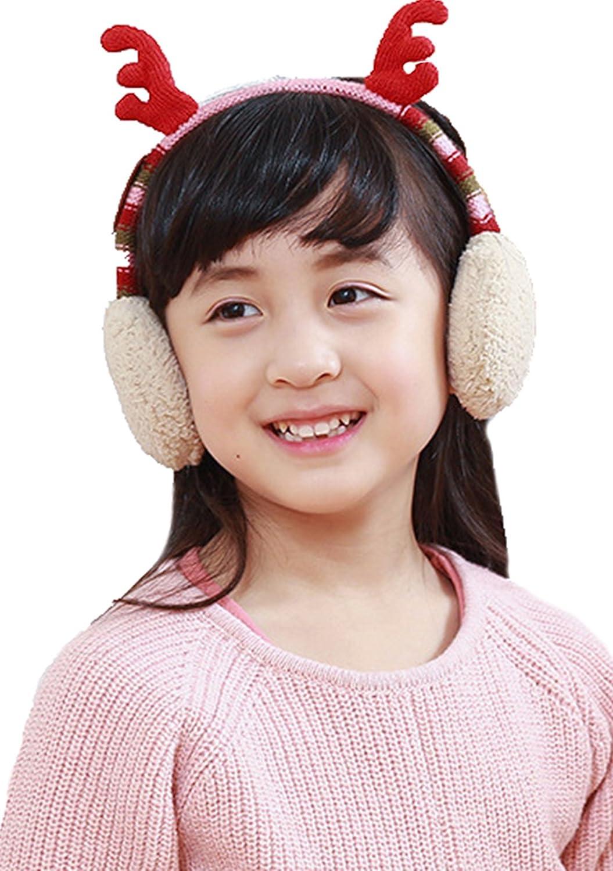 Antlers Ultra Soft Faux Fur Plush Kids Adjustable Earmuffs Winter Warm Boys Girls Headband Fluffy Earmuffs