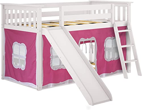 Max Lily 180217-002-078 Low Bunk with Slide, Twin, White, Pink Curtain