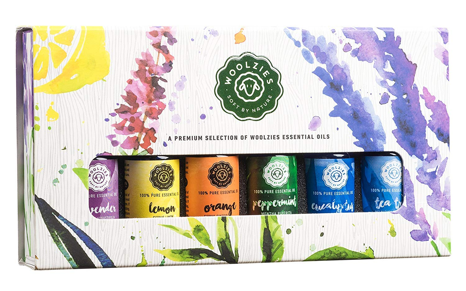 Woolzies Top 6 Essential Oil Gift Set 100% PURE NATURAL & UNDILUTED | Highest Quality Aromatherapy Therapeutic Grade | Most Popular Oils included Lavender Lemon Orange Peppermint Eucalyptus Tea Tree